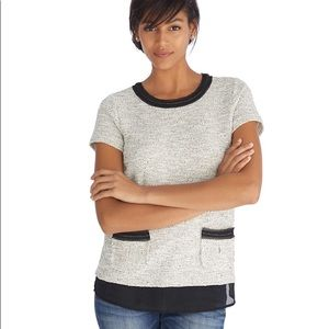 WHBM Short Sleeve Tweed Boxy Top Shirt w/ Chain